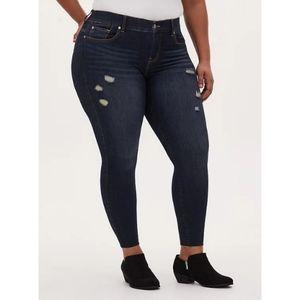 Torrid Bombshell Skinny Jean - Premium Stretch Dark Wash with Raw Hem